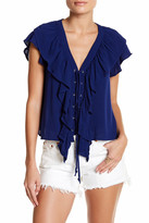 Hip V-Neck Ruffle Lace-Up Blouse