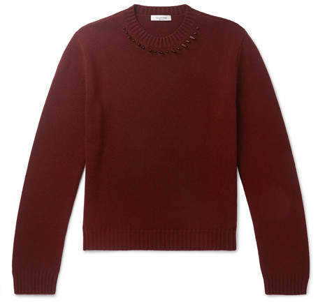 Valentino Slim-Fit Studded Cashmere Sweater