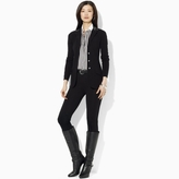 Ralph Lauren Faux-Leather Lapel Knit Blazer