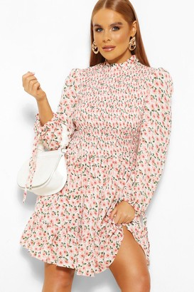 boohoo Floral Balloon Sleeve Shirred Skater Dress
