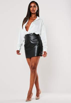 Missguided Black Faux Leather Double Zip Mini Skirt