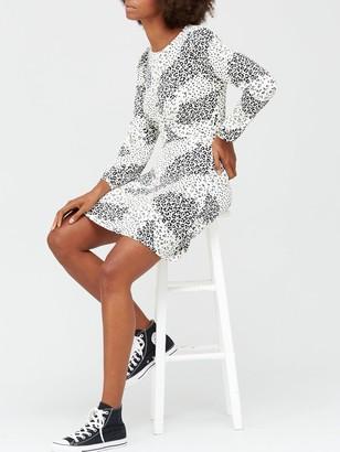 Very Volume Sleeve Jersey Mini Dress - White/Animal