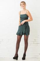 A Love Like You Green Ruffle Shine Mini Dress Forest Grn L