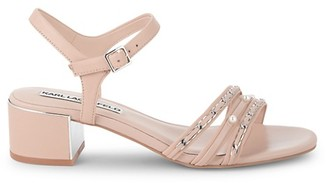 Karl Lagerfeld Paris Tori Embellished Leather Block Sandals