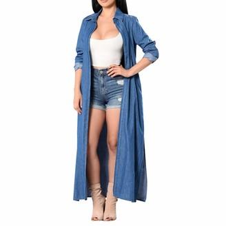 Linkay Womens Coat Long Sleeve Long Pattern Sexy Fashion Denim Trench Cardigan Cape Coat Bule XL