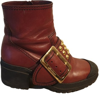 Burberry Red Leather Boots