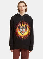 Gucci Angry Cat Embroidered Hooded Sweater In Black