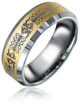Bling Jewelry Gold Plated Mens Celtic Dragon Tungsten Band Ring 8mm