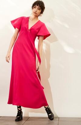 ADEAM Flutter Sleeve Tie Bodice Crepe Maxi Dress