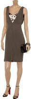 Just Cavalli Printed stretch-sateen and silk crepe de chine dress