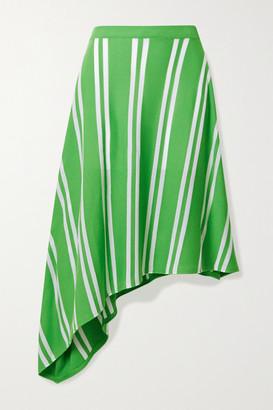 MM6 MAISON MARGIELA Asymmetric Striped Stretch-knit Skirt - Green