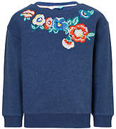 John Lewis Girls' Embroidered Floral Sweatshirt, Navy