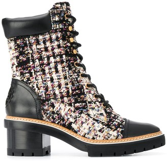 Tory Burch Tweed Lace-Up Boots