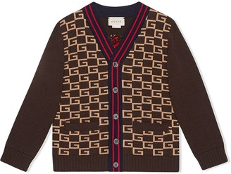 Gucci Kids Children's Square G cardigan with panther