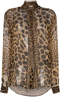 Saint Laurent tie-neck leopard-print blouse