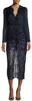 Saloni Yana Metallic Ruffle-Trim Lace-Combo Midi Dress