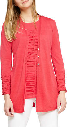 Nic+Zoe Plus Size Button-Front Ruched Long-Sleeve Cardigan