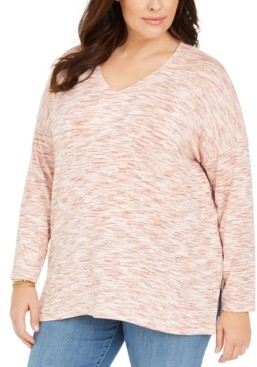 Style&Co. Style & Co Plus Size Space-Dye Sweater-Knit Tunic, Created for Macy's