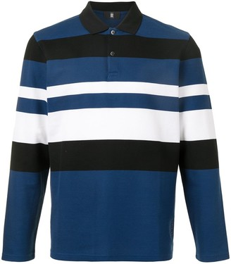 Kent & Curwen Block-Stripe Long Sleeved Polo Shirt