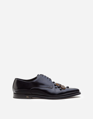 Dolce & Gabbana Derby In Antik Calfskin With Embroidered Studs And Bezels