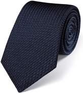 Charles Tyrwhitt Navy Silk Plain Grenadine Italian Luxury Tie Size OSFA