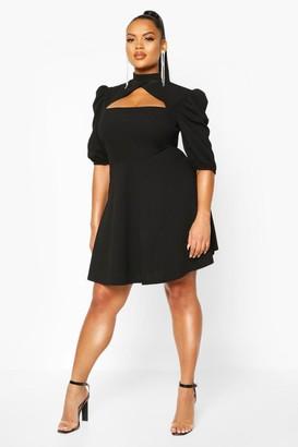 boohoo Plus Choker Cut Off Puff Sleeve Peplum Dress
