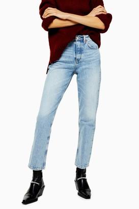 Topshop Womens Bleach Wash Editor Straight Jeans - Bleach Stone