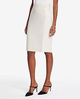 Textured Button Front Pencil Skirt