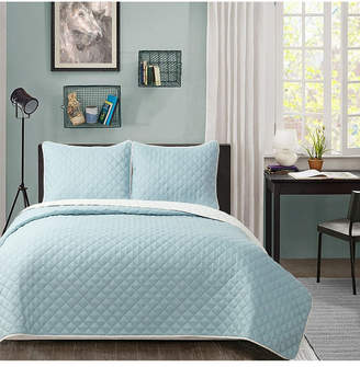 University Solid Reversible 3pc King quilt set Baby Blue reverse to White Bedding