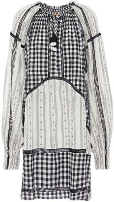 Dodo Bar Or Lattice-trimmed Paneled Cotton-jacquard Mini Dress