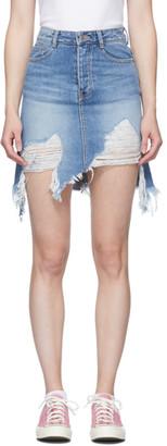 Sjyp Blue Vintage Washed Denim Skirt