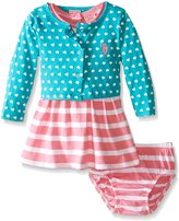 U.S. Polo Assn. Girls' Hearts and Stripes Baby Doll Dress and Cropped Cardigan