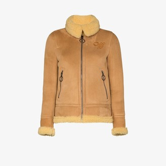Off-White Suede Shearling Aviator Jacket