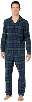 J.Crew Flannel Pajama Set in Black Watch Tartan (Dark Moss) Men's Pajama Sets