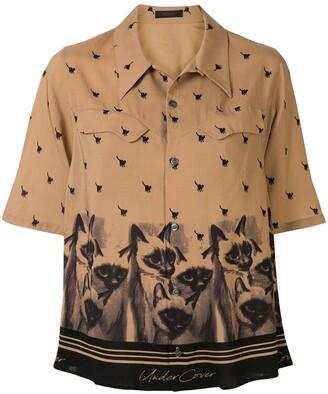 Undercover Short-Sleeved Cat-Print Shirt