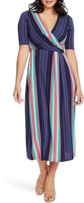 Chaus Laura Stripe Faux Wrap Midi Dress