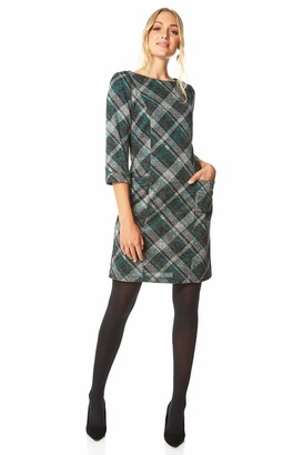 Roman Originals Women Check Shift Dress - Ladies Checkered Tartan Plaid Print Winter Smart Work Office Casual Formal Party Comfortable Tunic 3/4 Sleeve Knee Length Smock - Navy Blue - Size 20