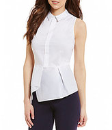 Antonio Melani Kennedy Point Collar Sleeveless Pleat Peplum Top