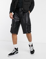 Asos Design DESIGN balloon fit cargo shorts in faux leather