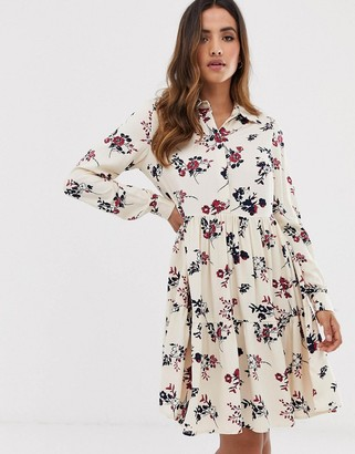 Y.A.S floral high neck dress-White