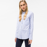 Paul Smith Women's Blue And White Striped 'Watermelon' Motif Shirt