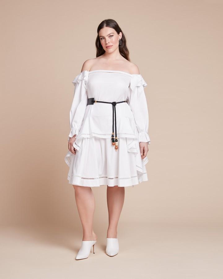 Zac Posen Stretch Cotton Poplin Skirt