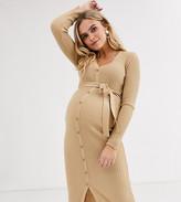 Asos DESIGN Maternity button detail midi dress with belt