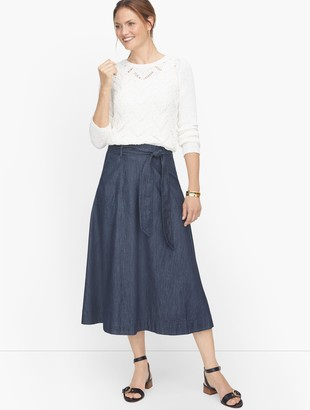 Talbots Tie Waist Denim Skirt