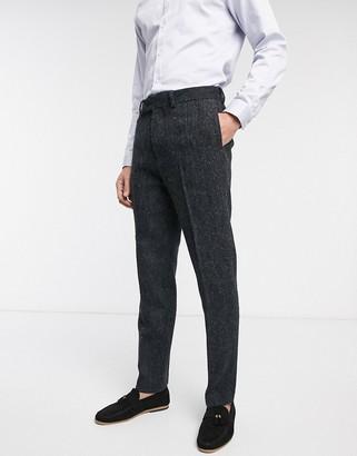 ASOS DESIGN slim suit pants in 100% wool Harris Tweed in charcoal herringbone