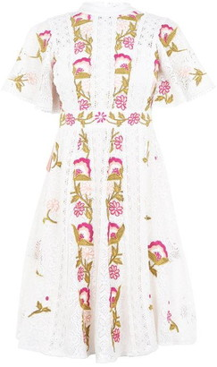 Frock and Frill Embroidered High Neck Dress