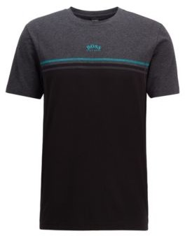 Stretch-cotton T-shirt with contrast stitching and curved logo