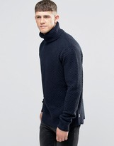 Bellfield Curved Hem Chunky Knitted Roll Neck