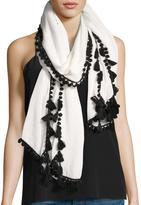 Neiman Marcus Mini Pompom Linen-Blend Scarf, White/Black