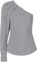Barbara Bui striped asymmetric-sleeve top